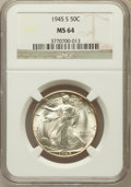Walking Liberty Half Dollars: , 1945-S 50C MS64 NGC. NGC Census: (2762/3432). PCGS Population(4550/4559). Mintage: 10,156,000. Numismedia Wsl. Price for p...