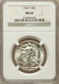 Walking Liberty Half Dollars: , 1942-S 50C MS64 NGC. NGC Census: (2155/1329). PCGS Population(3408/2678). Mintage: 12,708,000. Numismedia Wsl. Price for p...