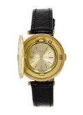 Timepieces:Wristwatch, Corum, Men's $20 Gold Coin, Gold, Covered Dial, Leather StrapWristwatch, Circa 1975. Case: 35 mm, 18k yellow gold, hinged...