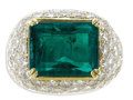 Estate Jewelry:Rings, Emerald, Diamond, Platinum, Gold Ring. The ring, of bombe form, is highlighted by an emerald-cut emerald measuring 13.10 x...