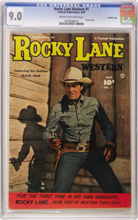 Rocky Lane Western #1 Crowley Copy pedigree (Fawcett, 1949) CGC VF/NM 9.0 Cream to off-white pages. Rocky and his stalli...