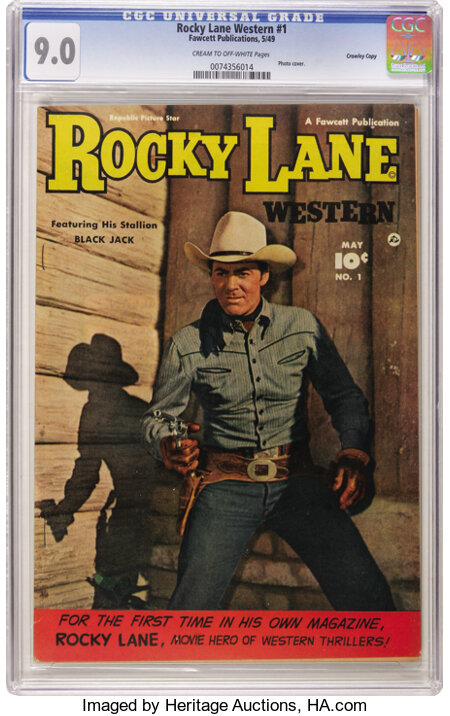 Rocky Lane Western #1 Crowley Copy pedigree (Fawcett, 1949) CGC VF/NM 9.0 Cream to off-white pages. Rocky and his stallion B...
