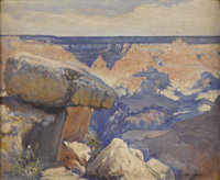 JOSÉ ARPA (1858-1952) The Balanced Rock - Grand Canyon, 1926 Oil on canvas 14in. x 17in. Signed lower right Signe...