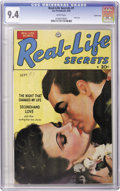 Golden Age (1938-1955):Romance, Real Life Secrets #1 Carson City pedigree (Ace, 1949) CGC NM 9.4White pages. Here's the only issue of this romance title, f...