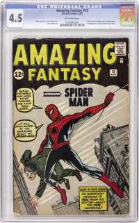Amazing Fantasy #15 (Marvel, 1962) CGC VG+ 4.5 Off-white pages. This book's awfully nice for a VG+ copy -- it doesn't ha...