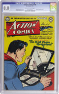 Golden Age (1938-1955):Superhero, Action Comics #158 (DC, 1951) CGC VF 8.0 Off-white to white pages. Superman's origin is retold in this issue, which features...