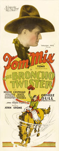 "Movie Posters:Western, The Broncho Twister (Fox, 1927). Insert (14"" X 36""). Tom Mix wasone of the most famous personalities of the first half of t..."