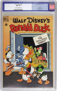 "Four Color #282 Donald Duck in ""The Pixilated Parrot"" (Dell, 1950) CGC NM- 9.2 Off-white to white pages. Uncle..."