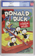 """Golden Age (1938-1955):Cartoon Character, Four Color #108 Donald Duck in """"The Terror of the River"""" (Dell, 1946) CGC NM 9.4 Off-white to white pages. Carl Barks' art m..."""