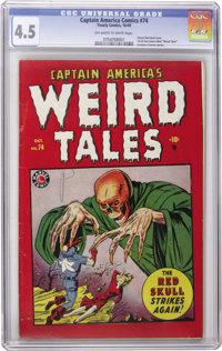 """Captain America Comics #74 (Timely, 1949) CGC VG+ 4.5 Off-white to white pages. """"Seekers of a copy of Cap #74 are u..."""