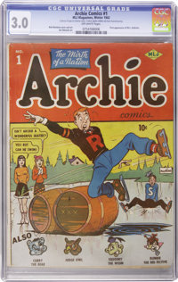 Archie Comics #1 (Archie, 1942) CGC GD/VG 3.0 Off-white pages. If this book were ever for sale at Guide, hordes of colle...