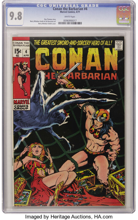 Conan the Barbarian #4 (Marvel, 1971) CGC NM/MT 9.8 White pages....