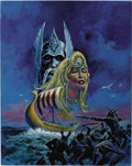 Original Comic Art:Covers, Luis Dominguez - Horror/Fantasy Cover Painting Original Art(undated). An eerily vibrant painting of a viking ship, ghostly ...
