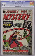 Silver Age (1956-1969):Superhero, Journey Into Mystery #83 (Marvel, 1962) CGC VG/FN 5.0 White pages. We had to look closely to figure why this nice-looking bo...