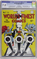 Golden Age (1938-1955):Superhero, World's Finest Comics #7 (DC, 1942) CGC FN/VF 7.0 White pages. Jack Burnley's patriotic cover is a real winner! Of course, t...