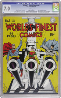 World's Finest Comics #7 (DC, 1942) CGC FN/VF 7.0 White pages. Jack Burnley's patriotic cover is a real winner! Of cours...