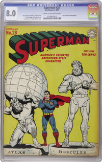 Superman #28 (DC, 1944) CGC VF 8.0 Cream to off-white pages. Greek gods figured into both this Wayne Boring cover and an...