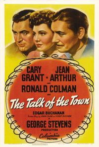 "The Talk of the Town (Columbia, 1942). One Sheet (27"" X 41""). George Steven's comedy about Cary Grant, on the..."