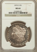 Morgan Dollars: , 1878-S $1 MS64 NGC. NGC Census: (14128/4489). PCGS Population(12895/4267). Mintage: 9,774,000. Numismedia Wsl. Price for p...