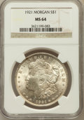 Morgan Dollars: , 1921 $1 MS64 NGC. NGC Census: (36108/8397). PCGS Population(24134/4309). Mintage: 44,690,000. Numismedia Wsl. Price for pr...