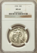 Walking Liberty Half Dollars: , 1935 50C MS64 NGC. NGC Census: (784/932). PCGS Population(1204/1555). Mintage: 9,162,000. Numismedia Wsl. Price forproble...