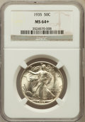 Walking Liberty Half Dollars, 1935 50C MS64+ NGC. NGC Census: (784/932). PCGS Population(1204/1555). Mintage: 9,162,000. Numismedia Wsl. Price for probl...