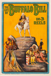 """Buffalo Bill"" Cody: Colorful Promotional Poster Issued by the Buffalo Bill - Pawnee Bill Film Co.<"