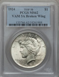 Peace Dollars, 1924 $1 Vam-5A, Broken Wing MS62 PCGS. Top-50. PCGS Population(17/44). . From The Parcfeld Collection....