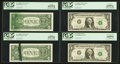 Error Notes:Ink Smears, Fr. 1908-K $1 1974 Federal Reserve Notes. Four Examples. PCGS VeryChoice New 64PPQ-Gem New 66PPQ.. ... (Total: 4 notes)
