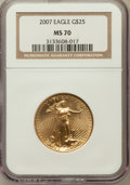 Modern Bullion Coins, 2007 $25 Half-Ounce Gold Eagle MS70 NGC. NGC Census: (5699). PCGSPopulation (14). Numismedia Wsl. Price for problem free ...