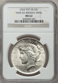 Peace Dollars, 1924 $1 Vam-5A, Broken Wing MS62 NGC. Top-50. PCGS Population(17/44).. From The Parcfeld Collection....