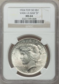 """Peace Dollars, 1924 $1 Vam-1A, Bar """"D"""" MS64 NGC. Top-50. NGC Census: (0/0). PCGSPopulation (8/0).. From The Parcfeld Collection...."""
