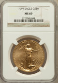 Modern Bullion Coins: , 1997 G$50 One-Ounce Gold Eagle MS69 NGC. NGC Census: (826/65). PCGSPopulation (990/18). Mintage: 664,508. Numismedia Wsl. ...