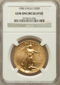 Modern Bullion Coins, 1986 G$50 One-Ounce Gold Eagle Gem Uncirculated NGC. NGC Census:(9/6917). PCGS Population (12/3674). Mintage: 1,362,650. N...