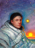 Pulp, Pulp-like, Digests, and Paperback Art, DONATO GIANCOLA (American, 20th Century). Portrait of a Woman ina Space Suit, 2000. Acrylic on canvas board. 24 x 18 in...