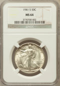 Walking Liberty Half Dollars: , 1941-S 50C MS64 NGC. NGC Census: (2667/1146). PCGS Population(3492/2729). Mintage: 8,098,000. Numismedia Wsl. Price for pr...