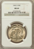 Walking Liberty Half Dollars: , 1942-D 50C MS64 NGC. NGC Census: (986/2553). PCGS Population(2091/4047). Mintage: 10,973,800. Numismedia Wsl. Price for pr...