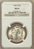 Walking Liberty Half Dollars: , 1945-S 50C MS64 NGC. NGC Census: (2755/3430). PCGS Population(4550/4559). Mintage: 10,156,000. Numismedia Wsl. Price for p...