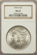Morgan Dollars: , 1900-O $1 MS65 NGC. NGC Census: (6533/1046). PCGS Population(5851/956). Mintage: 12,590,000. Numismedia Wsl. Price for pro...