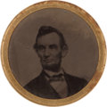 Political:Ferrotypes / Photo Badges (pre-1896), Abraham Lincoln: Single Portrait 1864 Ferrotype....