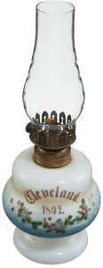 Political:3D & Other Display (pre-1896), Grover Cleveland: Hand-Painted Milk Glass Lamp....
