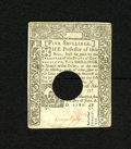 Colonial Notes:Connecticut, Connecticut June 1, 1780 5s Extremely Fine-About New. A fewminiscule pinholes are noted on this hole cancelled note which a...