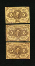 Fractional Currency:First Issue, Fr. 1230 5c First Issue. Three Examples. Fine or Better.. ... (Total: 3 notes)