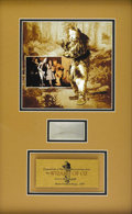 """Movie/TV Memorabilia:Memorabilia, """"Wizard of Oz"""" Framed Lock of Hair from Cowardly Lion Costume. Aframed presentation featuring several pieces of brown, tan-...(Total: 1 Item)"""