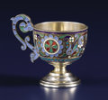 Silver Holloware, Continental:Holloware, A Russian Silver Gilt and Cloisonné Enamel Cup. Unknown maker,Moscow, Russia. Circa 1890. Silver gilt and enamel. Marks: ...