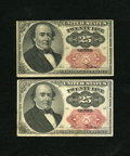 Fractional Currency:Fifth Issue, Fr. 1309 25c Fifth Issue. Two Examples. XF; Choice AU. The highergraded note exhibits faint handling.. ... (Total: 2 notes)