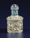Silver Holloware, Continental:Holloware, A Russian Silver Gilt and Cloisonné Enamel Perfume Bottle. PetrPavlovich Milyukov, Moscow, Russia. Circa 1896. Silver gil...