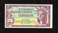 Military Payment Certificates:Series 591, Series 591 5¢ Choice New....