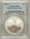 Modern Issues, 2011-S $1 U.S. Army MS69 PCGS. PCGS Population (498/229). NGCCensus: (177/440). Numismedia Wsl. Price for problem free NG...