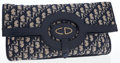 Luxury Accessories:Bags, Christian Dior Blue Monogram Canvas Foldover Clutch Tote Bag. ...